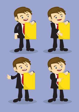 Set di quattro vettore personaggio dei cartoni animati in vestito di affari in possesso di un documento di grandi dimensioni relazione e facendo presentazione aziendale.