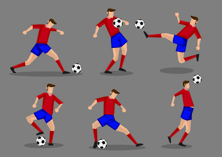 heading: Soccer player kicking, passing, heading and shooting soccer ball poses. Six vector characters isolated on grey background.