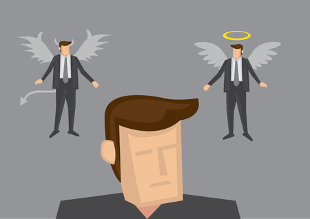 business dilemma: Businessman with angle and devil version of himself above his head. Conceptual vector illustration for business dilemma and indecisiveness isolated on grey plain background
