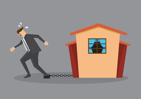 borrower: Tired man in business suit chained on ankle and a house at the other end of chain. Conceptual vector illustration for home loan liability isolated on grey plain background.
