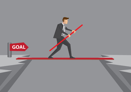 Man in business suit concentrating and balancing on tightrope to reach his goal on the other side of a dangerous cliff. Conceptual vector illustration for taking risk and overcoming difficulty to succeed.