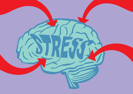 neuroscience: Big bold red arrows piercing into a human brain with text, Stress, on it. Conceptual vector illustration for mental stress and mental health.