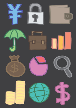 coin stack: Vector icons of Japanese yen symbol, security lock, wallet, umbrella, briefcase, bar chart, money bag, pie chart, magnifying glass, coin stack, globe and dollar sign isolated on black.