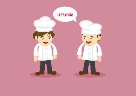 frau ganzk�rper: M�nnlich Chef Sagen Lets Cook Female Chef. Vektor-Cartoon-Charakterentwurf f�r Lebensmittel- und Getr�nkeindustrie.