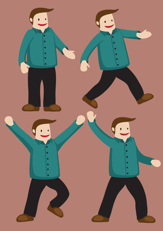 Set of four vector illustration of a cheerful plus size cartoon man in green long sleeved button shirt and pants in different poses isolated on brown background. Vector