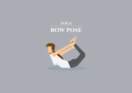 stretched: Vector illustration of a sporty women with arms stretched back holding ankles and balancing on stomach in yoga bow pose isolated on plain grey background