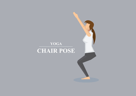 knees bent: Vector illustration of sporty women balancing on bent knees with  outstretched arms in yoga chair pose isolated on plain grey background Illustration