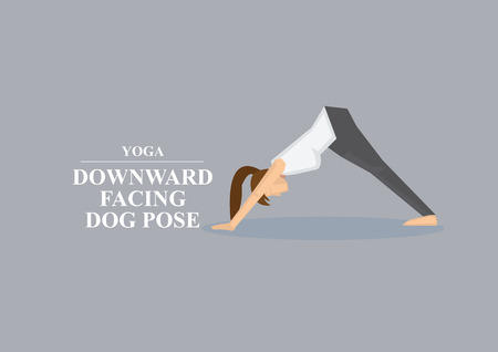 facing: Sporty women in yoga downward facing dog pose by supporting body with hands and feet while pushing hips up. Vector illustration isolated on plain grey background Illustration