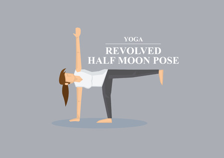 revolved: Sporty women supports body with one hand and foot with outstretched legs with arms in yoga revolved half moon pose. Vector illustration isolated on plain grey background