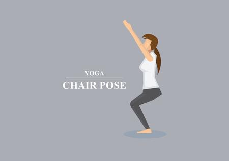 knees bent: Illustrazione vettoriale di donne sportive bilanciamento sulle ginocchia piegate con le braccia aperte in sedia yoga posa isolato su sfondo grigio chiaro