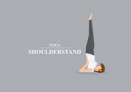 sporty: Sporty women balancing and standing on shoulders in yoga shoulder stand pose. Vector illustration isolated on plain grey background Illustration