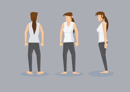 woman side view: Front, profile and back view of a barefooted slim woman with long ponytail and toned body in white sleeveless tank top and black leggings. Illustration