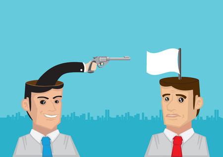 mind games: Mano que sostiene un arma y la bandera blanca que sale de la cabeza de los hombres. Ilustraci�n vectorial conceptual para juegos de la mente.