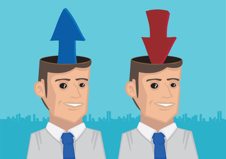 Arrows coming out and going into opened heads of two businessmen. Vector illustration for metaphor information upload and download