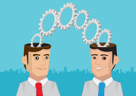 Cogs and toothed wheels coming out of two men with open minds. Metaphorical vector illustration for Two Heads are Better than One. Illustration