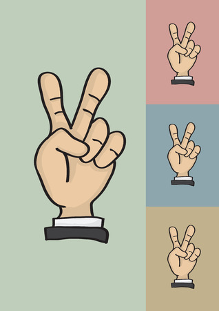 Vector illustration of a cartoon hand holding up two fingers in peace or victory sign isolated on different color background Vector