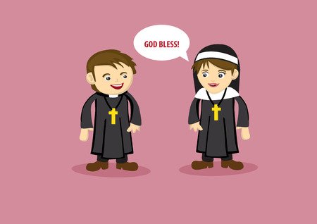 clergy: Vector illustration of nun saying God Bless to a Priest in cute cartoon style Illustration