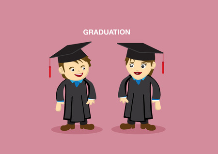 tertiary: Man and Woman in Academic Gown and Mortarboard for Graduation Vector Illustration
