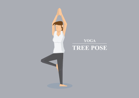 stretched: Sporty women balancing on one leg and both arms stretched out in the air with hands pressed together. Vector illustration in yoga tree pose isolated on plain grey background.