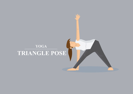 yoga pants: Vector illustration of sporty women in doing side stretch in yoga triangle pose isolated on plain grey background.