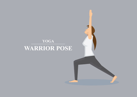 stretched: Profile view of sporty women in yoga warrior pose with both arms stretched up in the air and one knee bent. Vector illustration isolated on plain grey background.