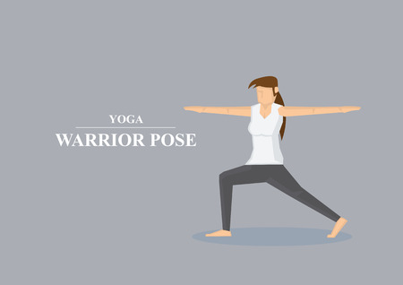 warrior pose: Vector illustration of sporty women in yoga warrior pose with both arms stretched out to the side and one knee bent isolated on plain grey background.