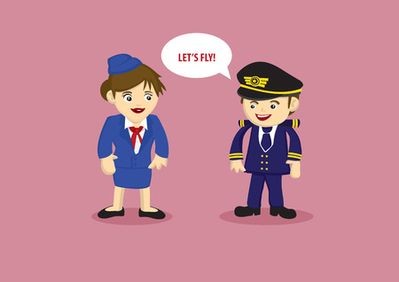 steward: Cute vector cartoon mascots of a pilot saying Lets Fly to air stewardess in blue uniform isolated on pink background Illustration