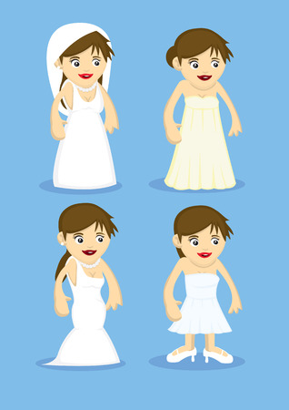 strapless: Set of four cute vector cartoon of brides in different styles of white wedding dresses isolated on blue background Illustration