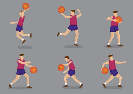 man full body: Set of six poses of a sporty basketballer playing basketball vector illustration isolated on grey background.