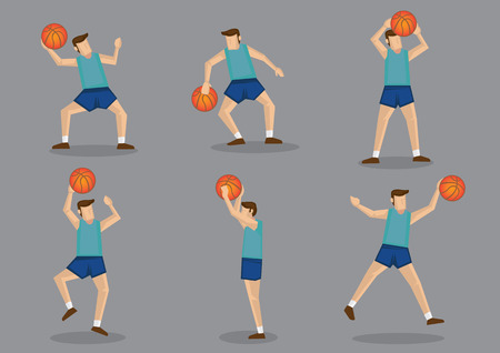 basketball cartoon: Basketballer in green jersy and blue shorts jumping, aiming, shooting and throwing basketball vector cartoon illustration.