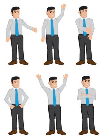 Vector icon set of six full body cartoon white collar male business executives in color isolated on white background