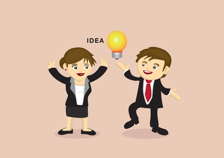 Vector illustration of excited man and woman in business suit doing happy dance around a lightbulb, metaphor for business idea. Vector