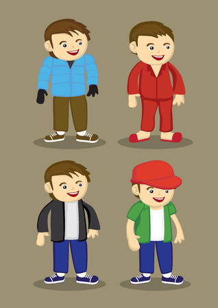 pjs: Set of four vector illustration of cartoon man in various fashion outfits