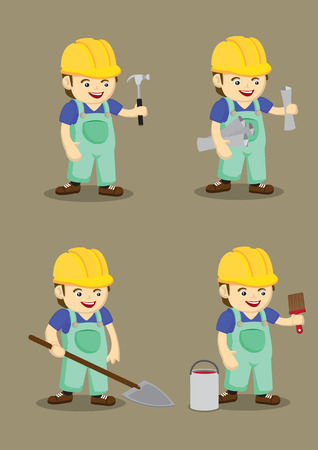 odd job: Set of four vector illustration of cute industrial worker wearing yellow helmet and overall with hand holding work tools in cartoon style isolated on plain brown background Illustration