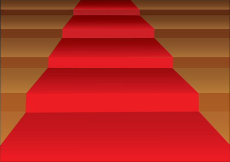 Vector illustration of a red carpet laid on steps of stairs in closeup view. Vector