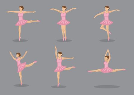 leotard: Set of six vector icons of ballerina dancer in pink tutu in various dance poses Illustration