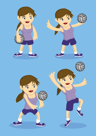 cartoon ball: Set of four vector cartoon girl playing volley ball. Illustration isolated on blue background. Illustration