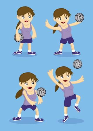 frau ganzk�rper: Set von vier Vektor-Cartoon-M�dchen spielt Volleyball. Illustration auf blauem Hintergrund isoliert.