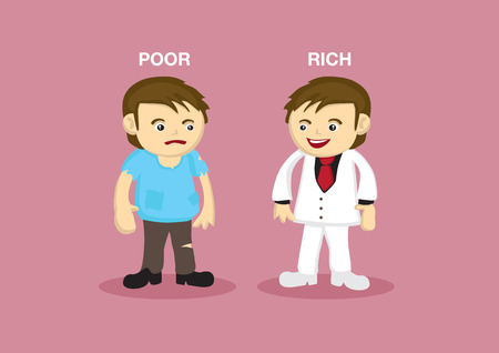versus: Vector illustration of a rich man dressed in classy white suit and a poor guy dressed in tattered clothes.