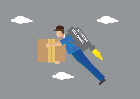 deliveryman: Deliveryman carrying a big carton box in hand and a propeller power jetpack on his back flying in the sky. Conceptual vector illustration isolated on grey background.