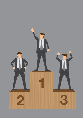 Three businessmen standing on sports competition winner platform isolated on grey background. Conceptual vector illustration of business competition and competitors. Illustration