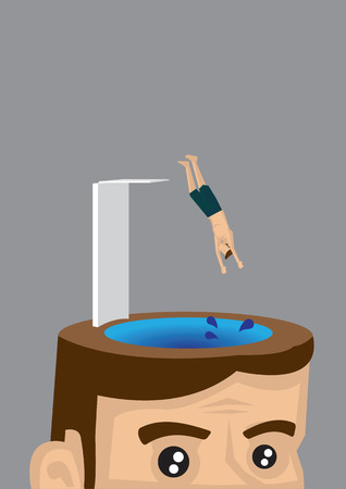 diving platform: Vector illustration of a tiny man jumping off a springboard and diving headfirst into the brain of a man