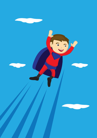 Vector cartoon illustration of a young boy wearing red and blue super hero costume with cape flying in the sky