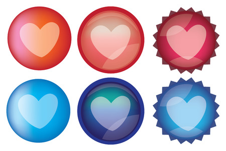 Set of six glossy round web buttons with heart shape in red and blue. Vector icon set isolated on white background Vector