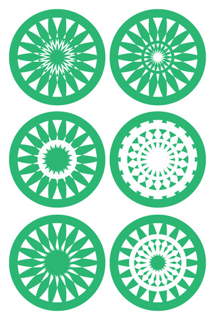 Set of six vector illustration of round circle design element in green and white inspired by natural patterns Vector