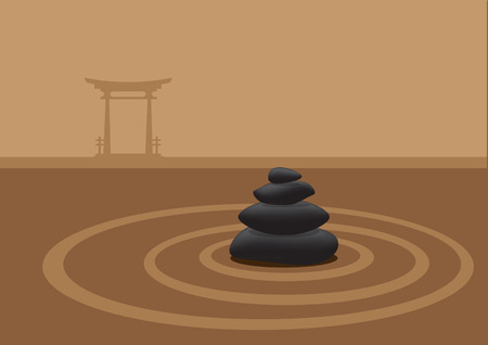 japanese garden: Vector illustration of black pebbles stacked in the middle of sand garden and a traditional Japanese shrine gate architecture on horizon in the background.