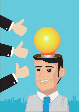open minded: Metaphorical vector cartoon illustration of white collar business executive with huge light bulb on his head and many arms with thumbs up at his side.