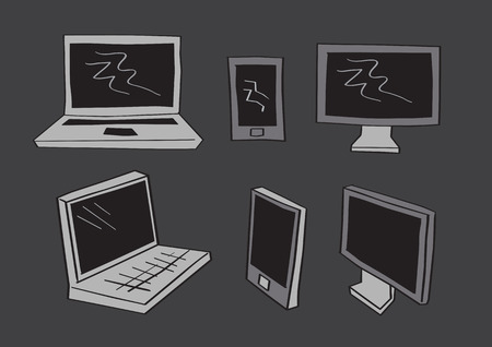 frontal view: Simple grayscale vector illustration of computer screen, mobile phones and laptop in frontal and three-quarter perspective view