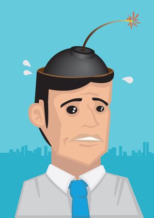 ignited: Vector illustration of frightened man with ignited bomb in his head in cartoon style Illustration