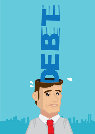obligations: Metaphorical vector cartoon illustration of word Debt crashing fast into empty opened head of white collar employee with a stressed and worried expression Illustration